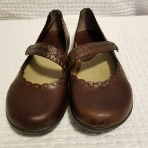 MIA Brown Leather Mary Jane Slip On Loafers